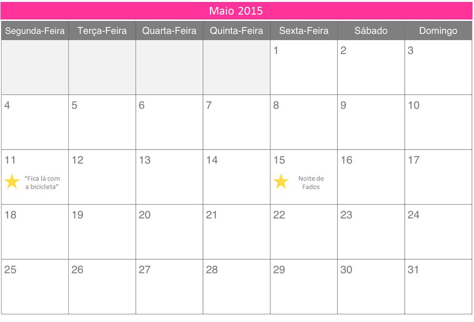 Calendário Maio SN